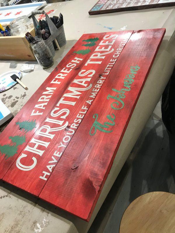 farm fresh christmas trees wood sign