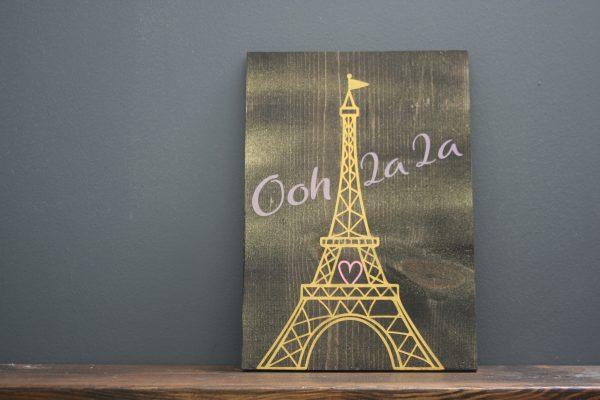 ooh la la eiffel tower on wood
