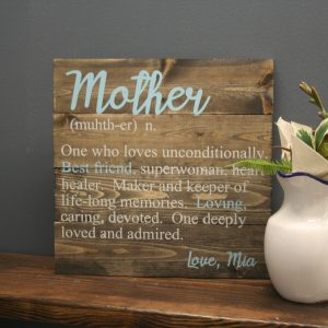 definition of mother sign on wood