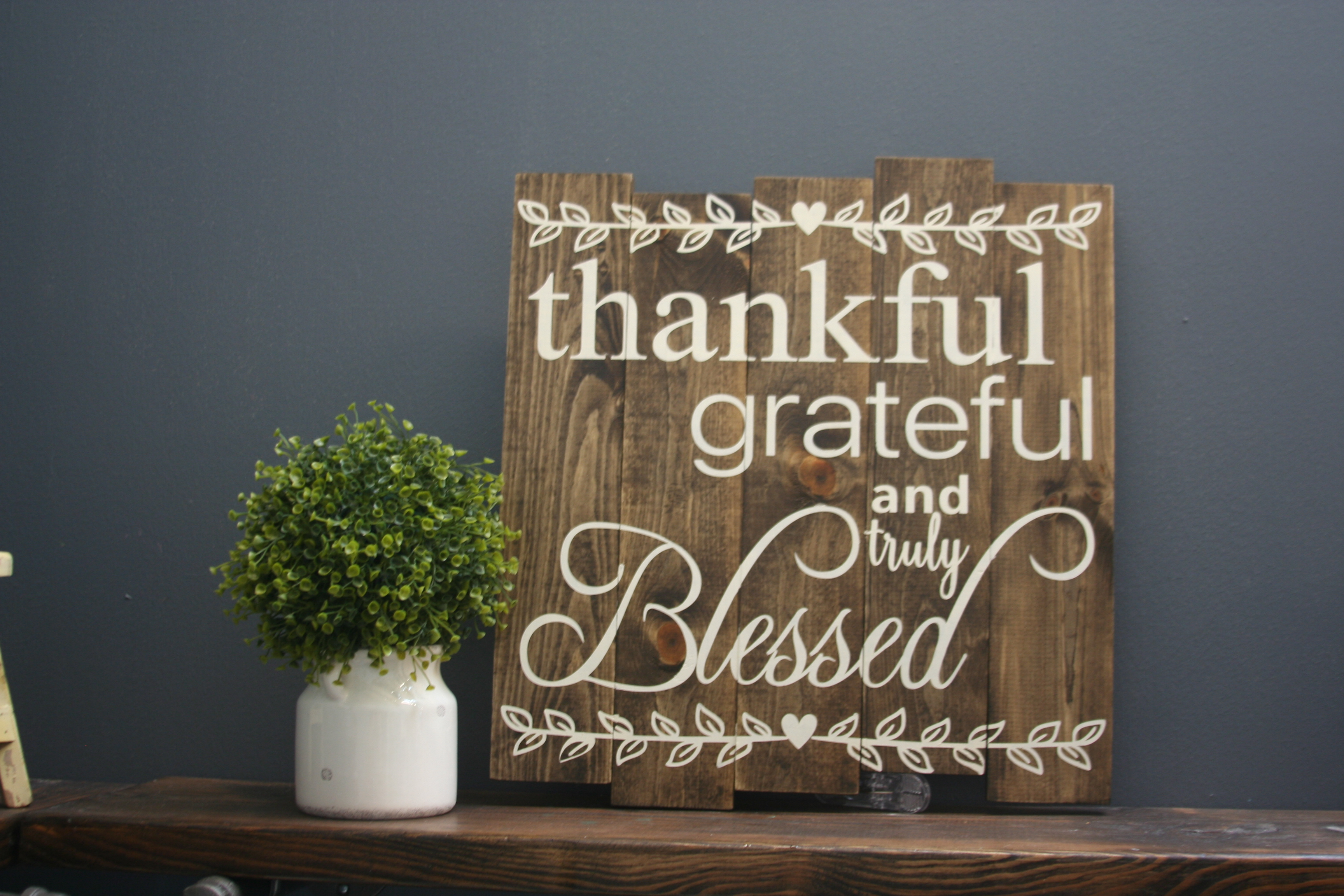 custom wood sign that says thankful grateful blessed