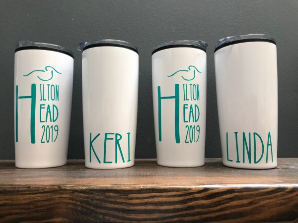 hilton head and name custom tumblers