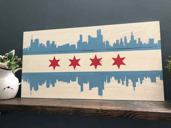 chicago skyline and stars on wood boards sign