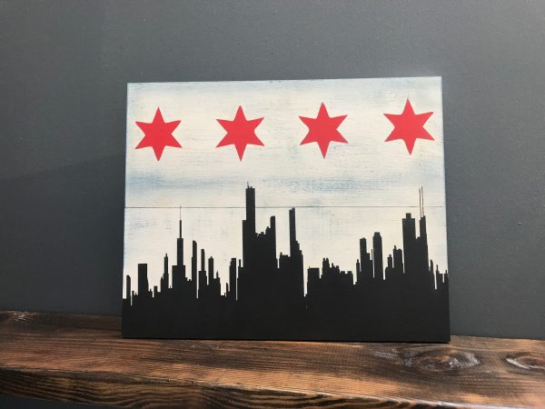 chicago skyline and stars on wood board