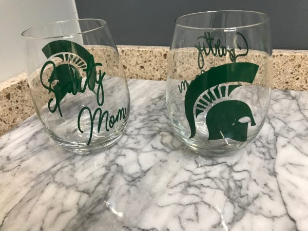 sparty mom custom glasses