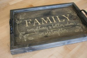 Custom wood serving tray