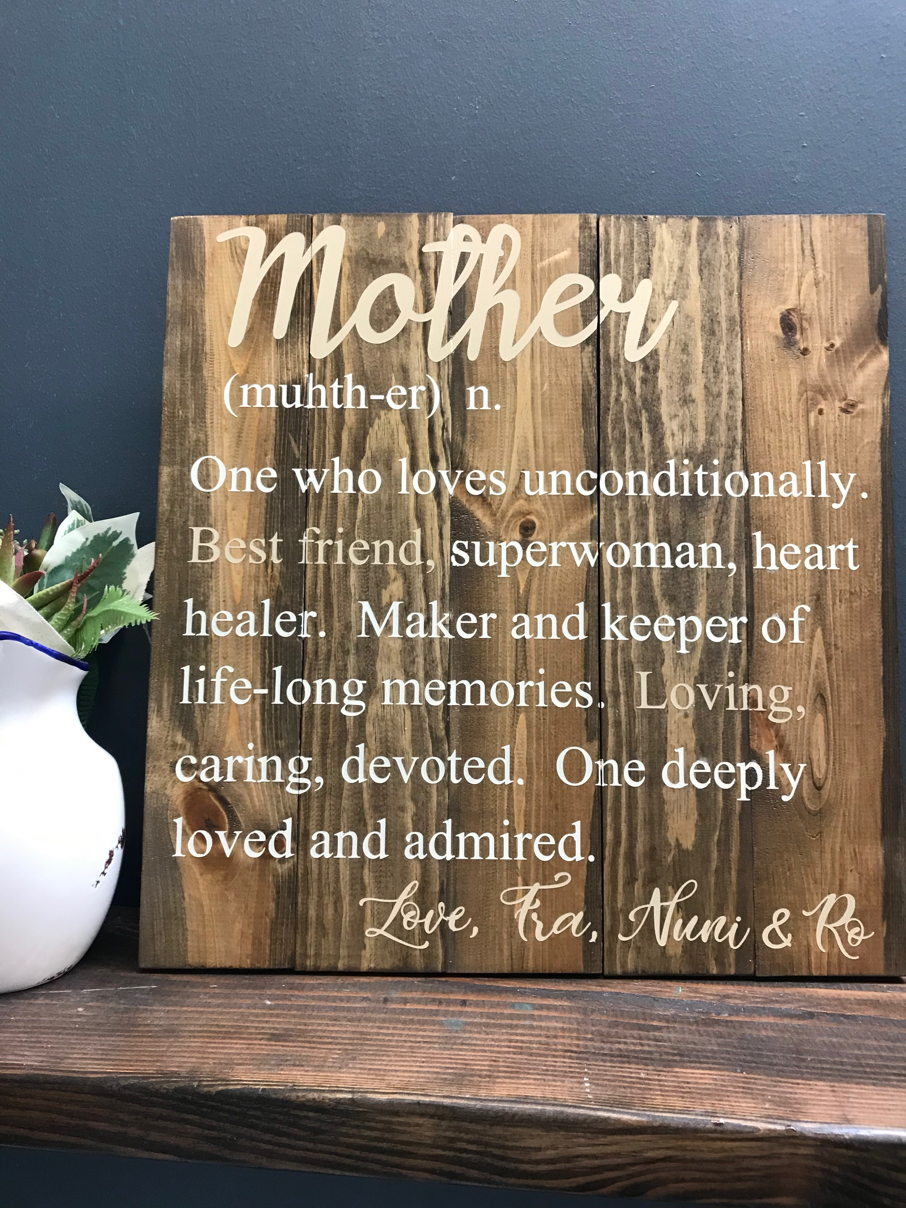 mother definition on wood board