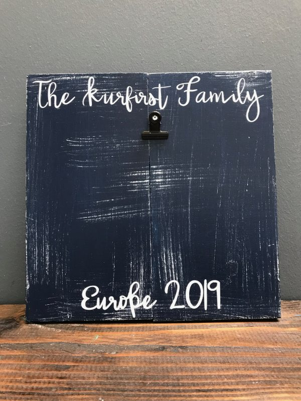 family name and date on wood with picture clip