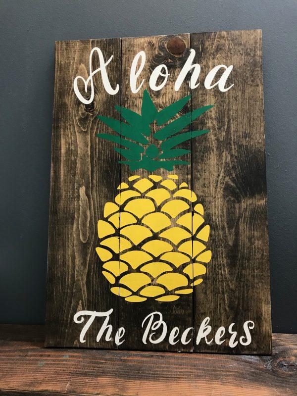 aloha sign on wood