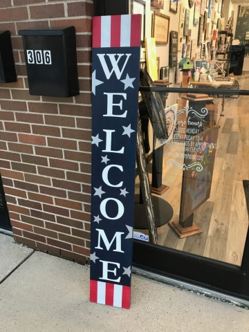 welcome starts and stripes wood sign
