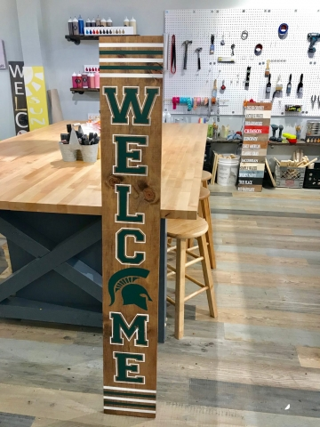 spartans vertical welcome wood sign