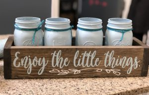 """planter box that says """"enjoy the little things"""""""