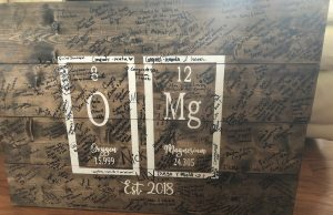 Wood sign with periodic table elements for oxygen and magnesium with wedding guest signatures