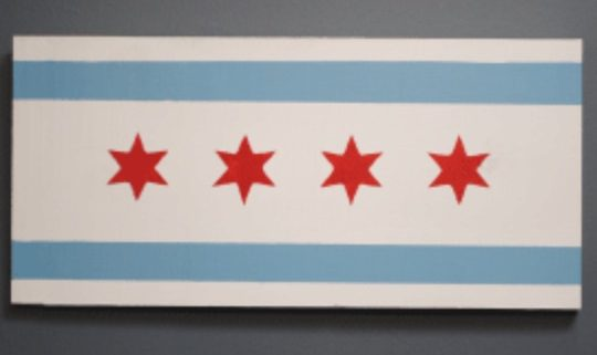 Wood sign painted like Chicago flag