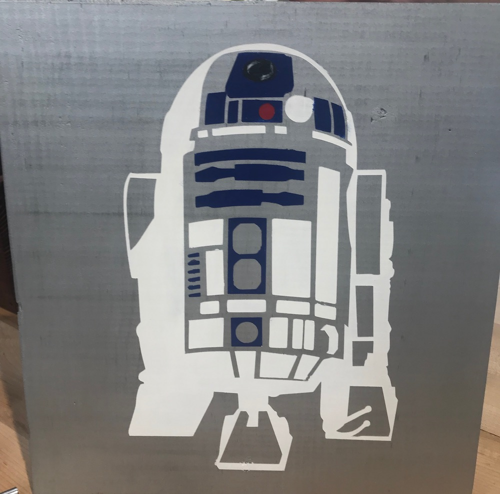 Wood sign with R2D2