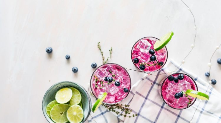 Frozen drinks with blueberry and lime