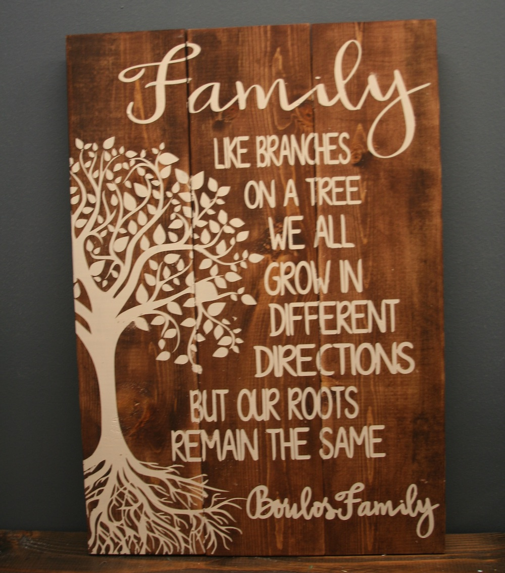 Wood sign with tree and quote about family