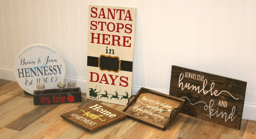 Custom wood signs sold by the henn house